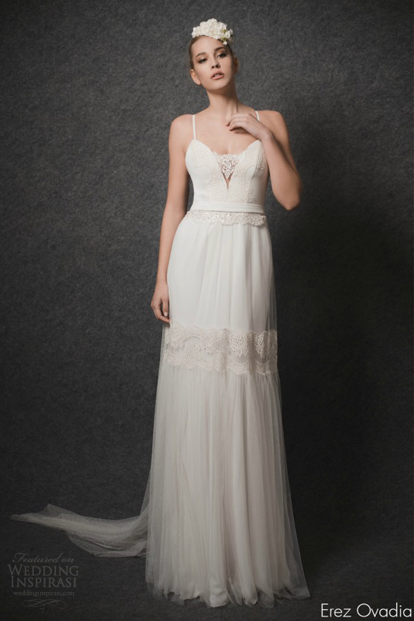 erez ovadia 2015 blossom bridal collection layla sleeveless wedding dress lace accent sweetheart neckline