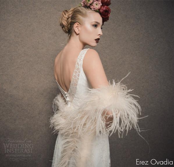 erez ovadia 2015 blossom bridal collection lily sleeveless wedding dress v neckline back view