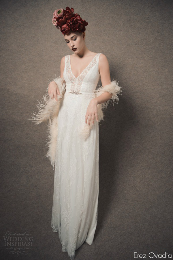 erez ovadia 2015 blossom bridal collection lily sleeveless wedding dress v neckline