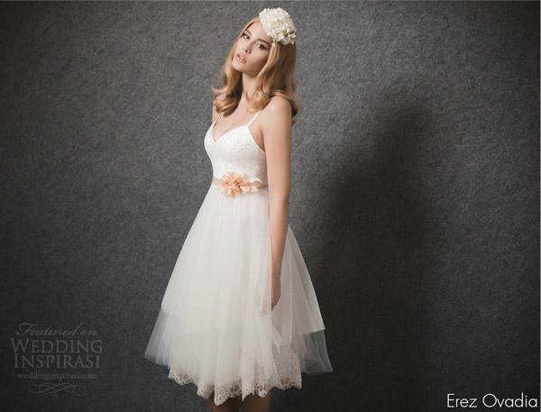 erez ovadia 2015 blossom bridal collection marie sleeveless short wedding dress lace underlay skirt