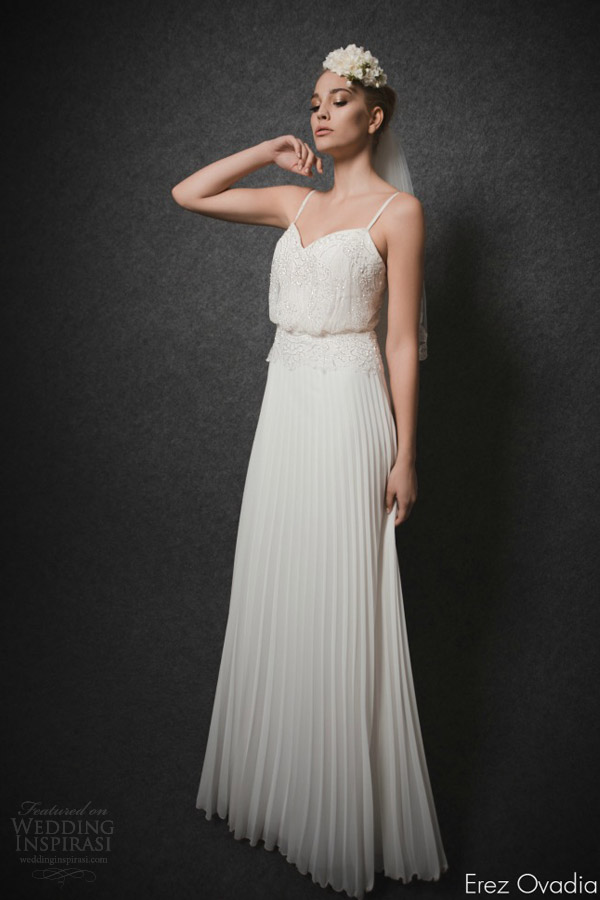 erez ovadia 2015 bridal blouson wedding dress sleeveless straps sweetheart neckline embellished lace bodice pleated skirt