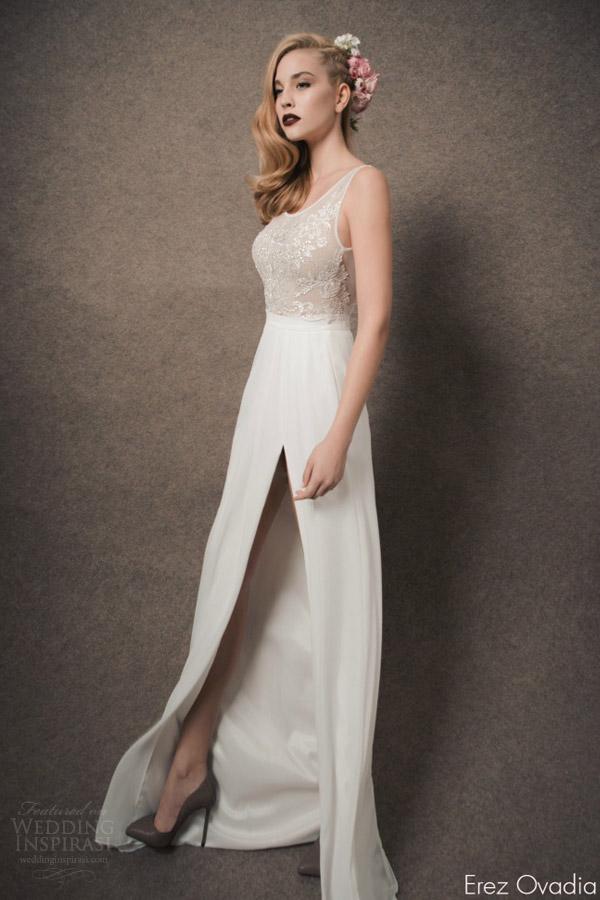 erez ovadia bridal 2015 alexa sleeveless wedding dress illusion bodice high slit