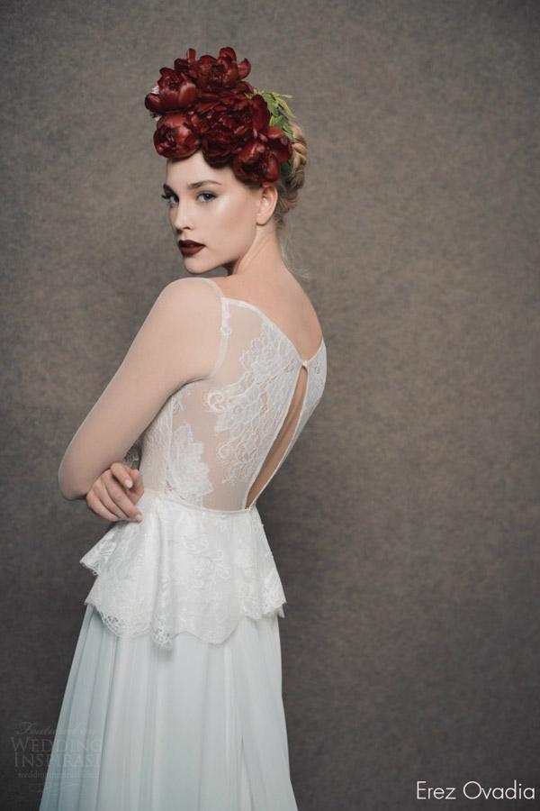 erez ovadia bridal 2015 blossom abigail peplum wedding dress illusion long sleeves back view