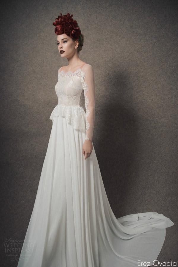 erez ovadia bridal 2015 blossom abigail peplum wedding dress illusion long sleeves