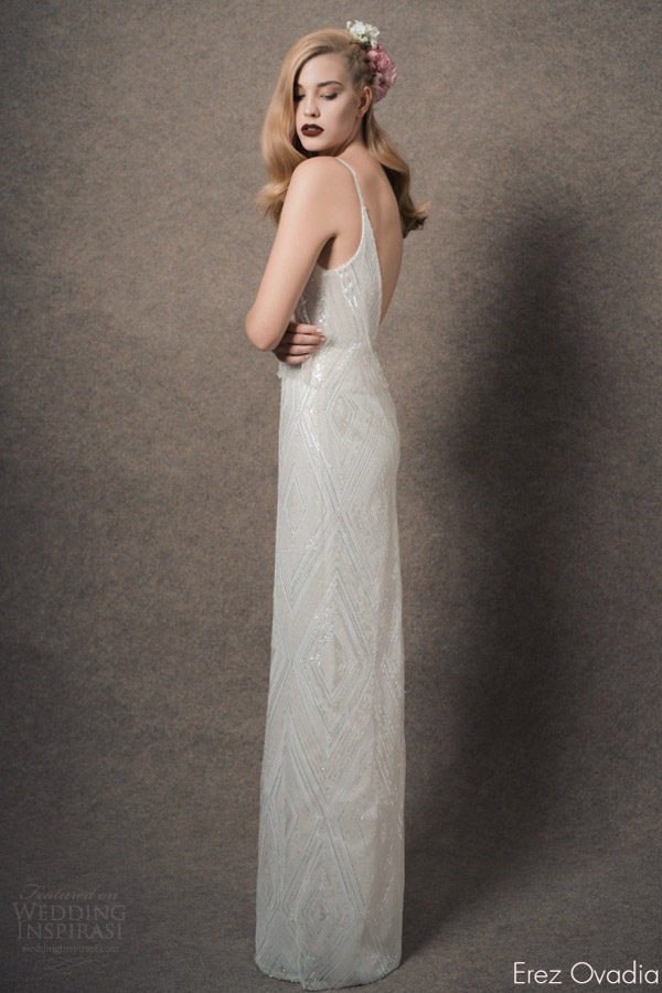 erez ovadia bridal 2015 blossom camille sleeveless wedding dress sequin thin straps two piece back view