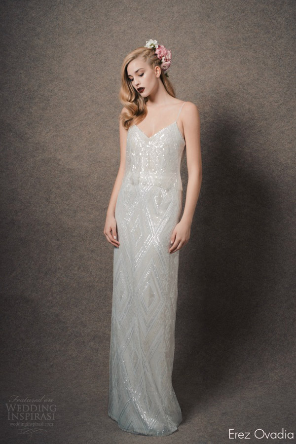 erez ovadia bridal 2015 blossom camille sleeveless wedding dress sequin thin straps two piece