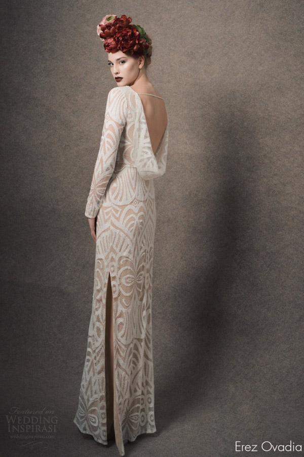 erez ovadia bridal 2015 blossom diane long sleeve wedding dress deep v neckline cowl back view