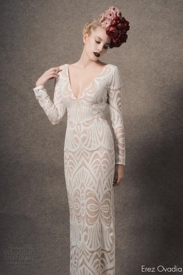 erez ovadia bridal 2015 blossom diane long sleeve wedding dress deep v neckline