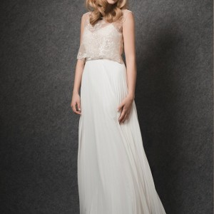 erez ovadia bridal 2015 blossom dree pleated wedding dress sleeveless illusion overlay top
