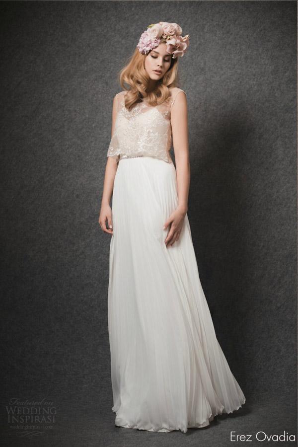 erez ovadia bridal 2015 blossom dree pleated wedding dress sleeveless illusion overlay top