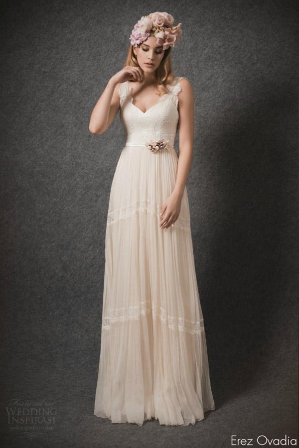 erez ovadia bridal 2015 blossom emilie b sleeveless wedding dress wide lace straps
