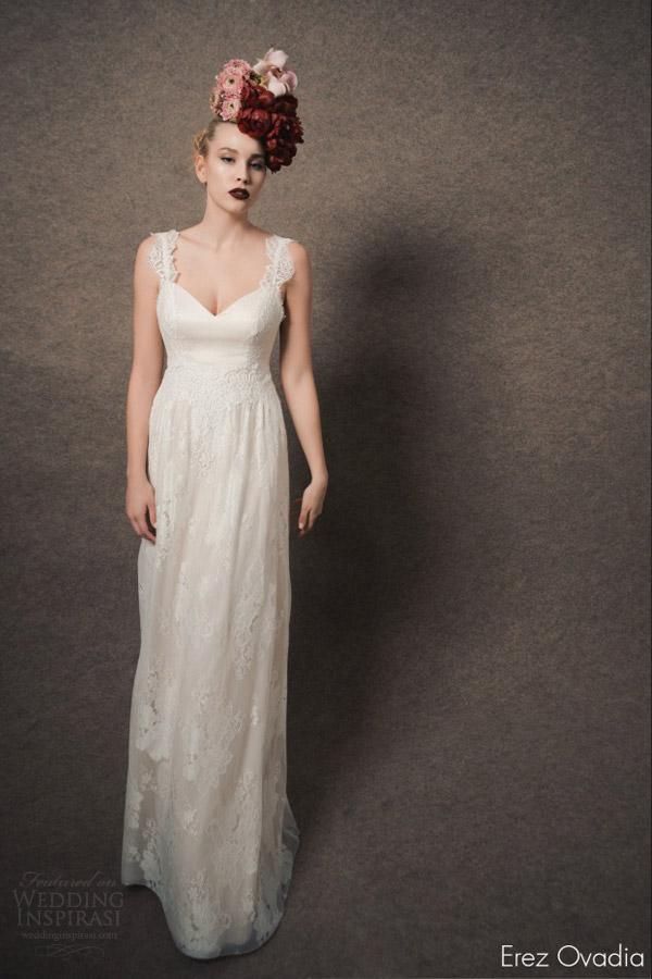 erez ovadia bridal 2015 blossom gala lace sleevelesss wedding dress straps