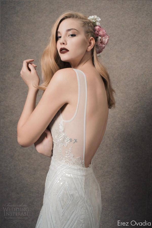 erez ovadia bridal 2015 blossom julia sleeveless wedding dress column skirt illusion bodice open back view