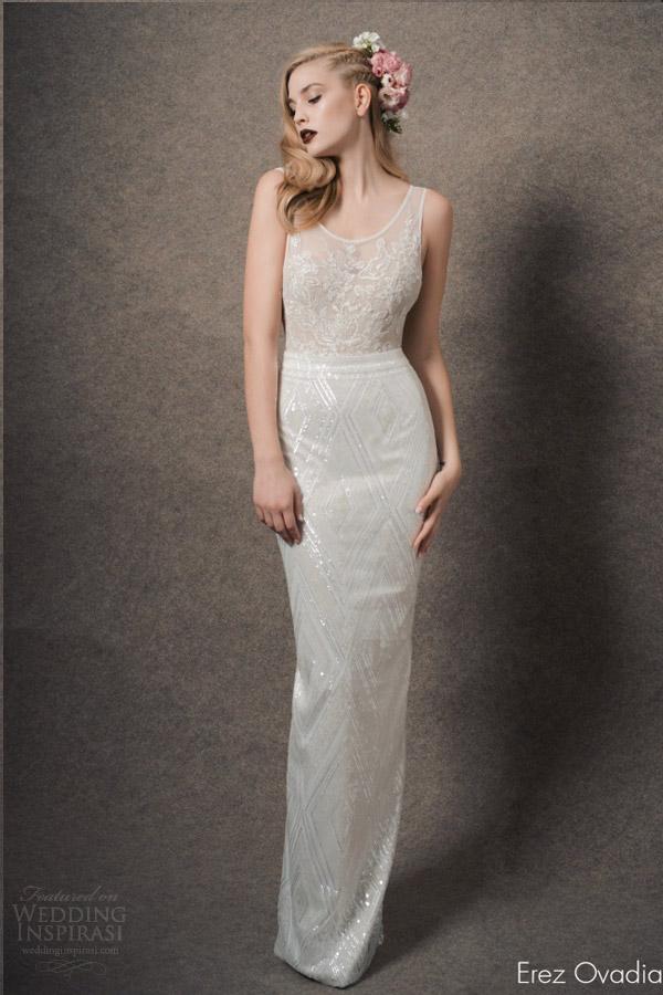 erez ovadia bridal 2015 blossom julia sleeveless wedding dress column skirt illusion bodice
