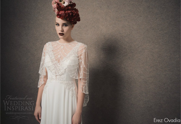 erez ovadia bridal 2015 blossom kelly sleeveless wedding dress illusion straps cape cover up
