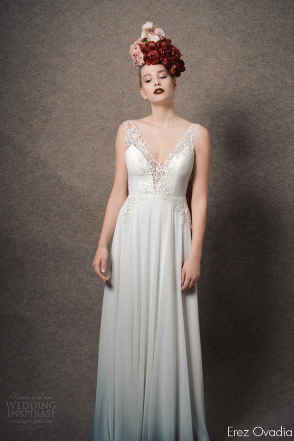 erez ovadia bridal 2015 blossom kelly sleeveless wedding dress illusion straps