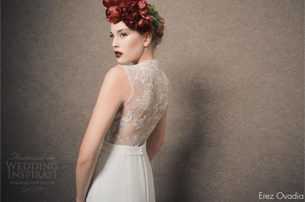 erez ovadia bridal 2015 blossom lenny sleeveless wedding dress keyhole front jewel neckline illusion lace back view