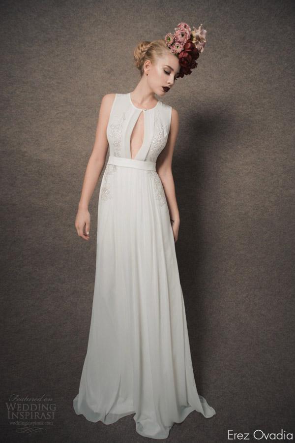 erez ovadia bridal 2015 blossom lenny sleeveless wedding dress keyhole front jewel neckline