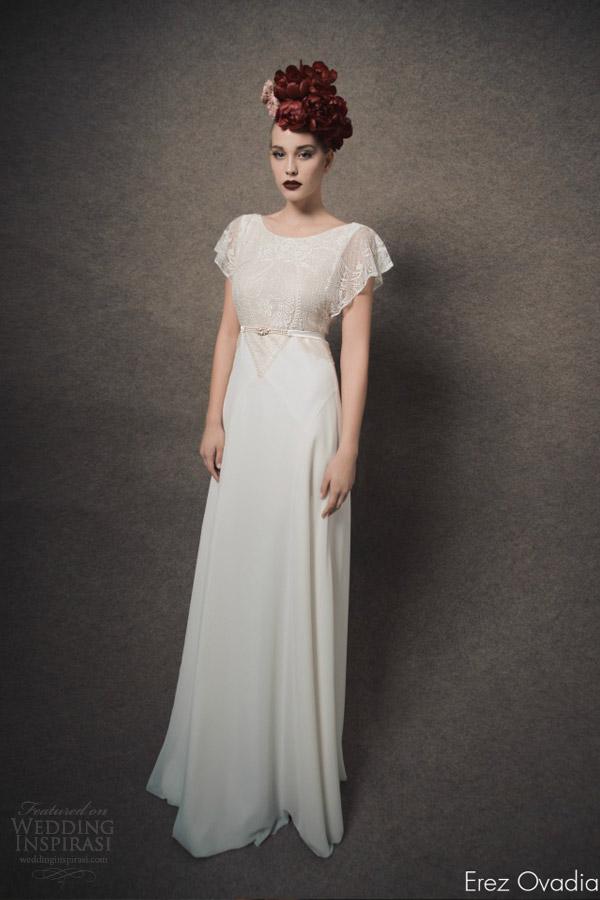 erez ovadia bridal 2015 blossom mila flutter sleeve wedding dress lace bodice