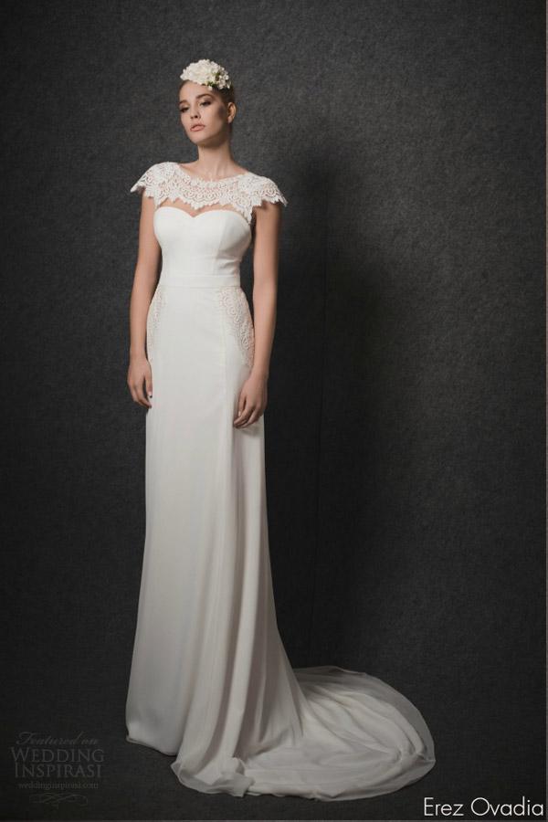 erez ovadia bridal 2015 ella sweetheart neckline cap sleeves topper column wedding dress