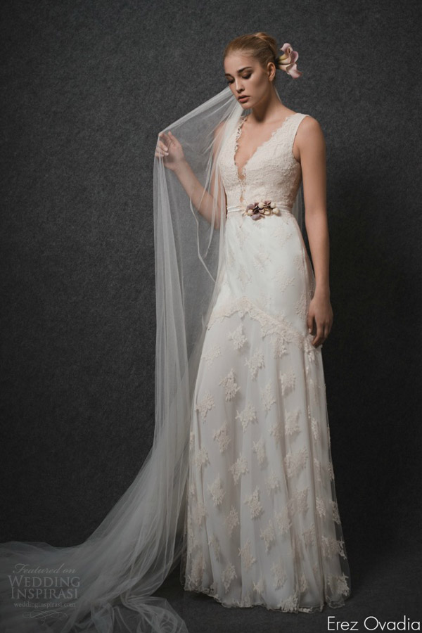 erez ovadia wedding dresses 2015 blossom bridal collection rose sleeveless wedding dress lace deep v neckline