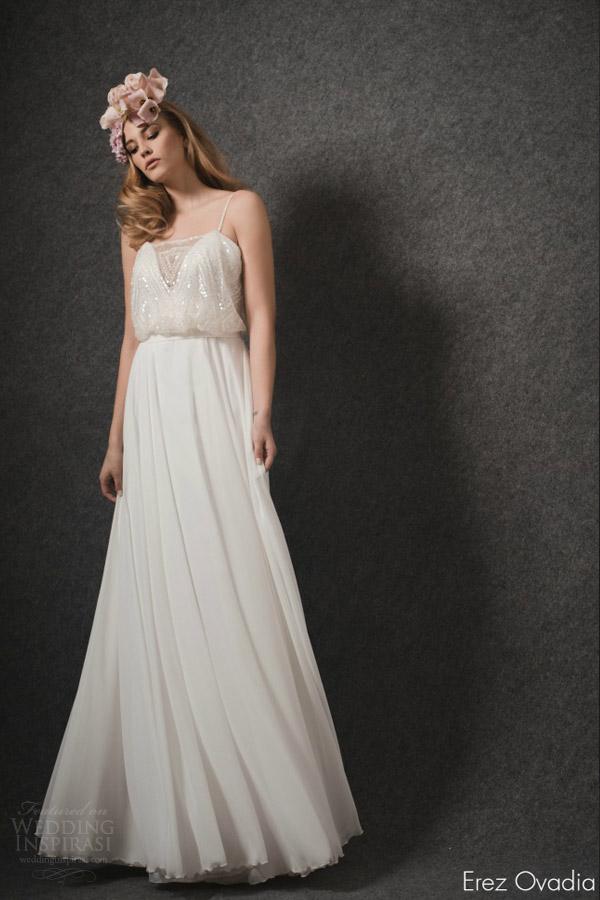 erez ovadia wedding dresses 2015 blossom bridal collection sol blouson wedding dress thin straps