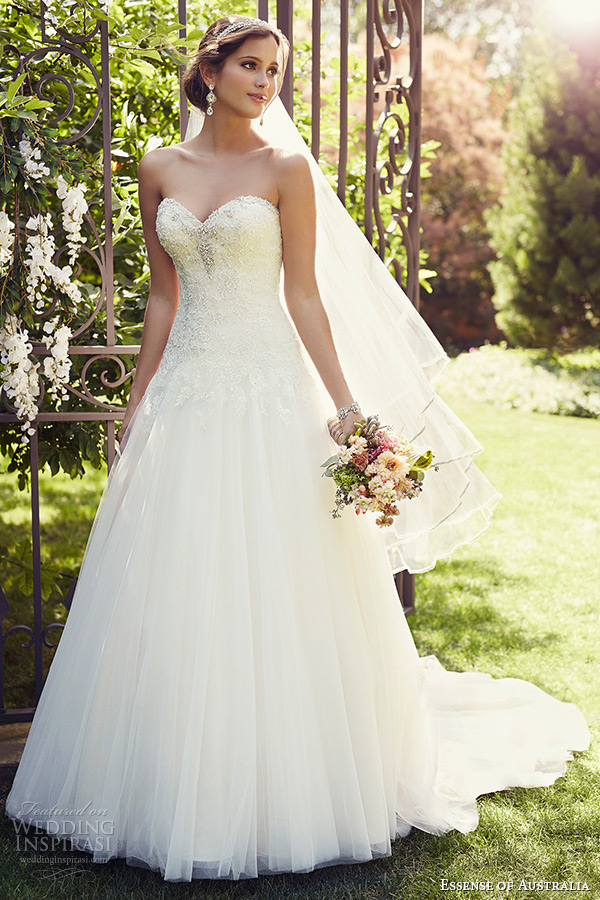 wedding dress 2015 bridal strapless sweetheart neckline a line gown