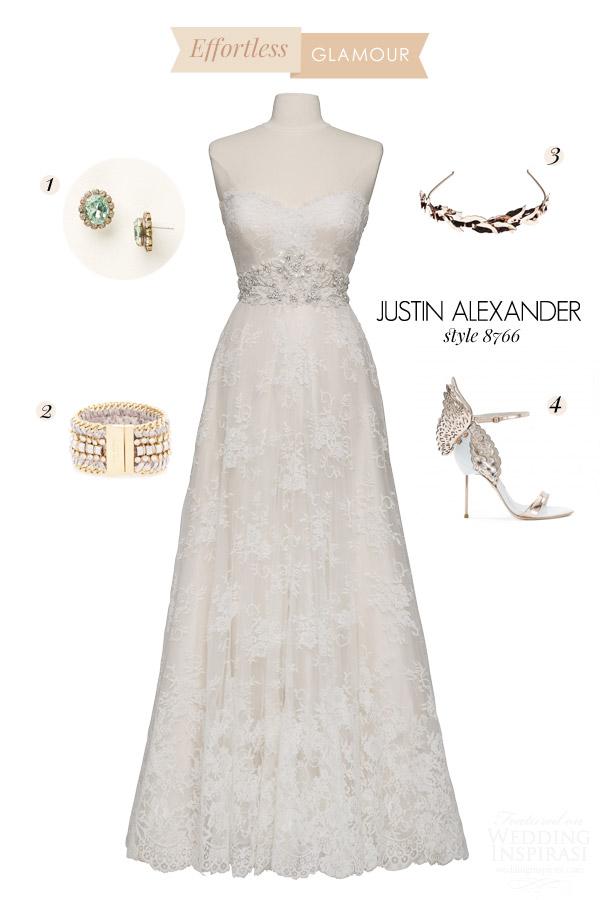 justin alexander style 8766 chantilly lace light gold ivory strapless a line wedding dress bridal inspiration board effortless glamour
