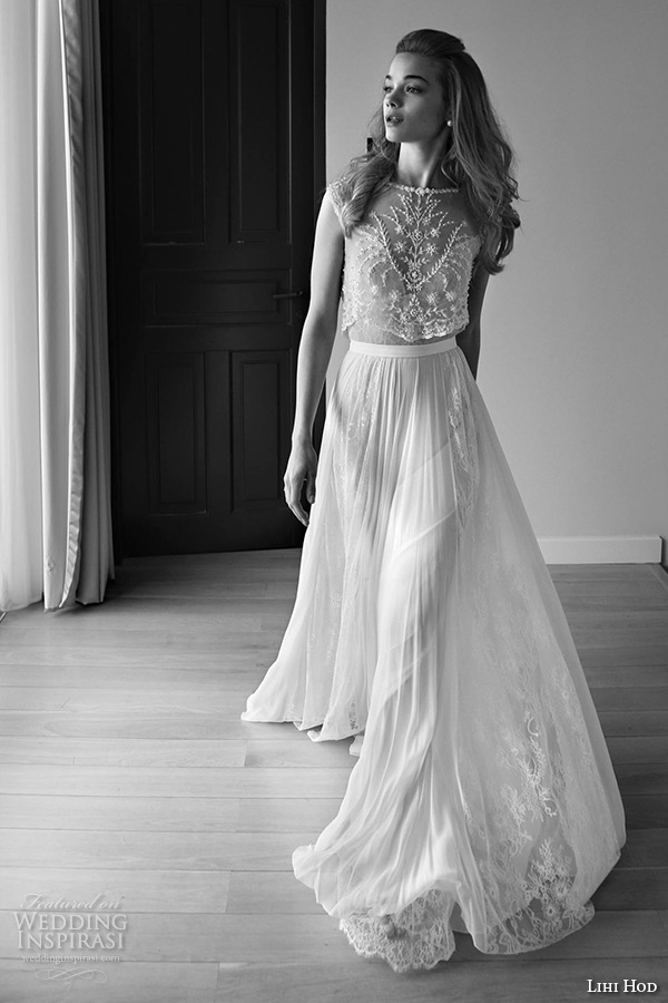 Lihi Hod Wedding Dresses 2017 Bridal Gown Bateau Neckline Sleeveless Embroidered Lace Top Pleated Tulle Skirt