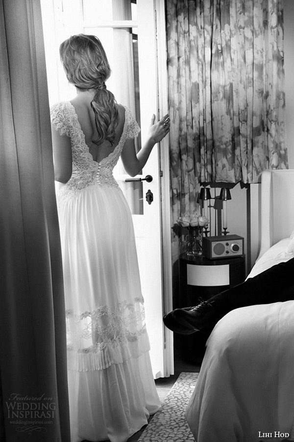 lihi hod wedding dresses 2015 bridal gown cap sleeves deep v neck lace embroidered bodice a line dress style tamara back view