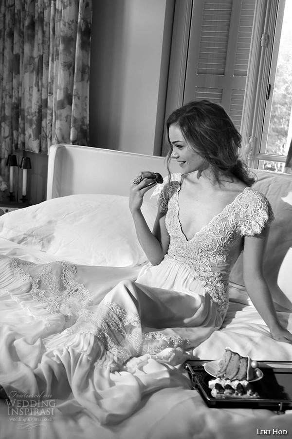lihi hod wedding dresses 2015 bridal gown cap sleeves deep v neck lace embroidered bodice a line dress style tamara