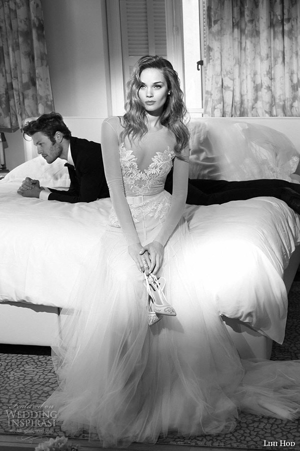 lihi hod wedding dresses 2015 bridal gown illusion long sleeves filigree sweetheart neckline tulle a line skirt style jeniffer