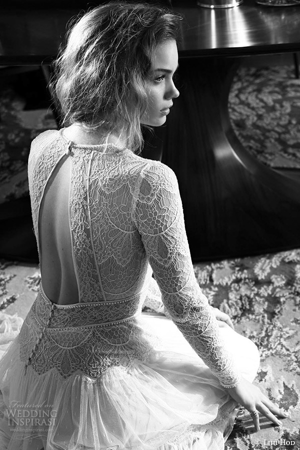 lihi hod wedding dresses 2015 bridal gown jewel neckline long sleeves lace sheer bodice pleated column dress style sophia back view