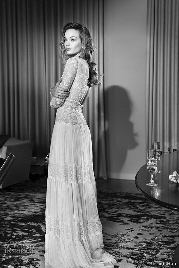lihi hod wedding dresses 2015 bridal gown jewel neckline long sleeves lace sheer bodice pleated column dress style sophia side view