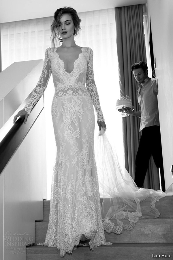 Lihi Hod Wedding Dresses 2015 Bridal Gown Long Sleeves V Neckline Full Lace Sheath Dress Style