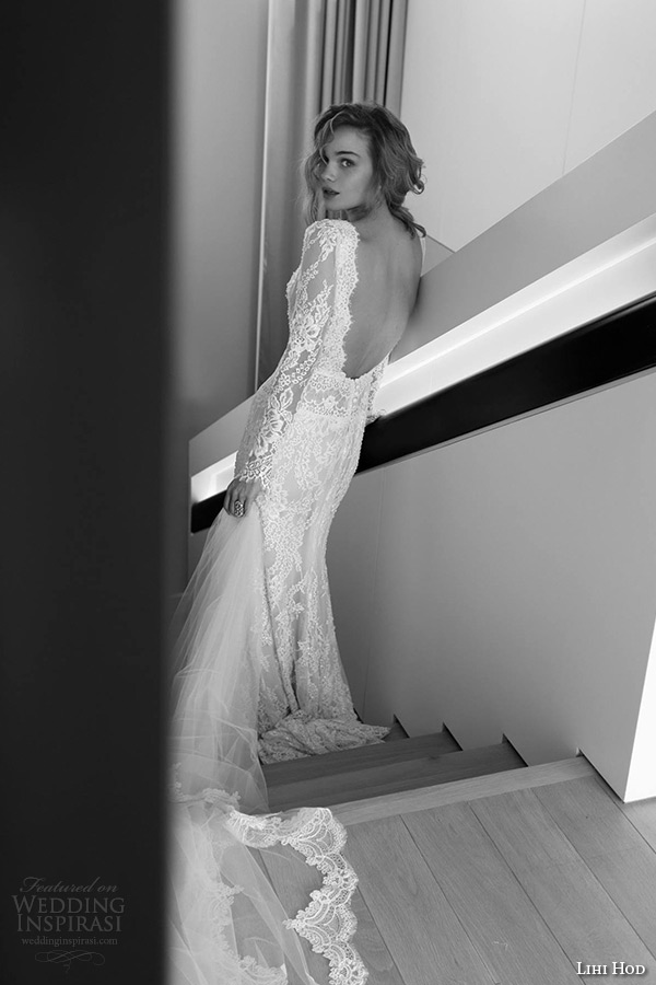lihi hod wedding dresses 2015 bridal gown long sleeves v neckline low cut  back full lace 5614919dc