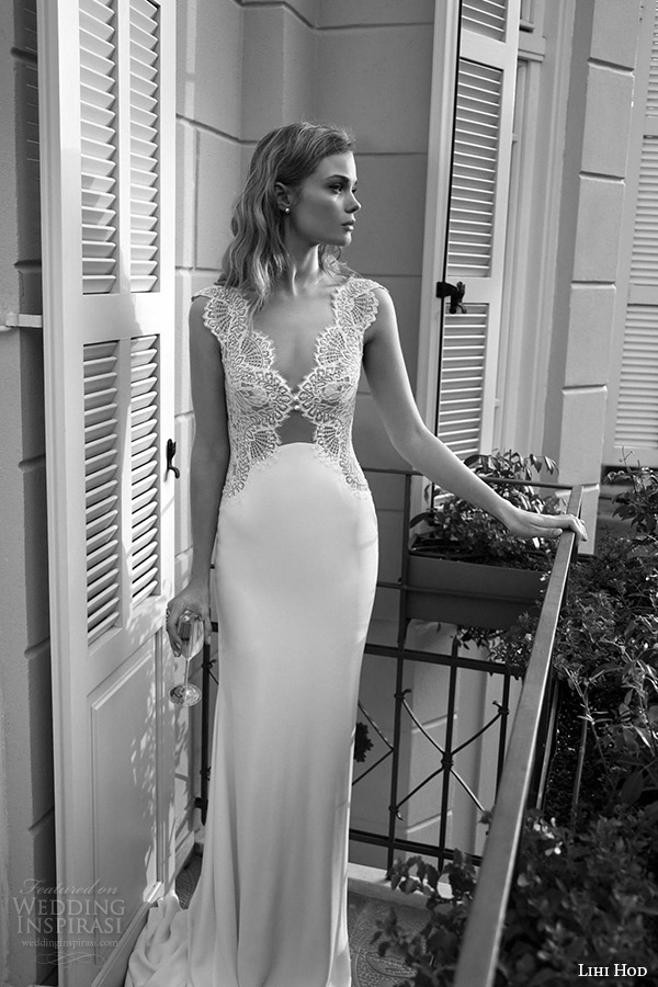 lihi hod wedding dresses 2015 bridal gown plunging v neckline lace bodice clean cut sheath skirt dress style misty rose