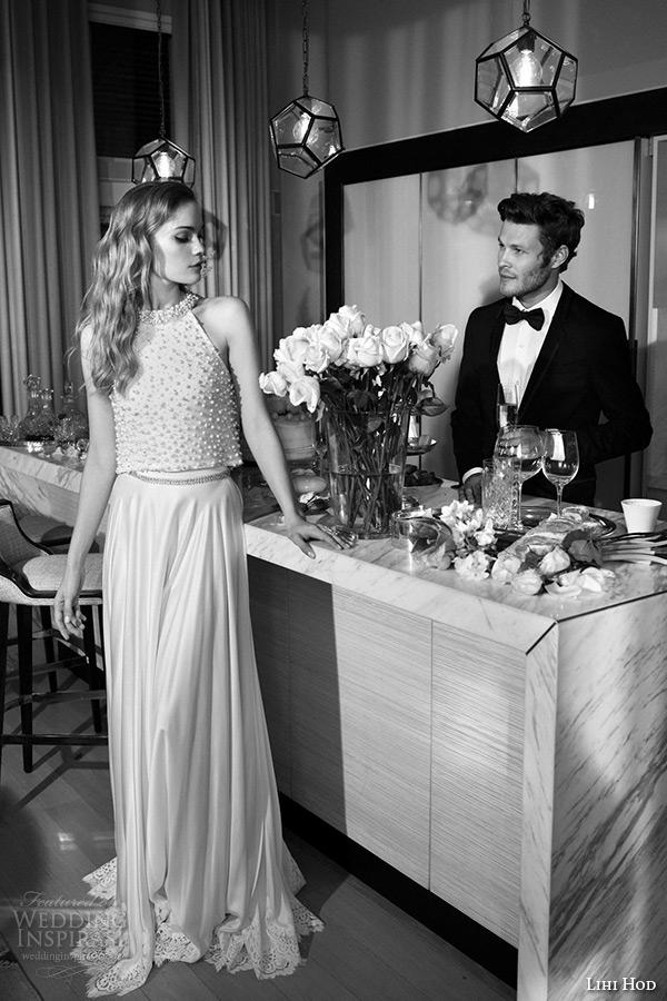 lihi hod wedding dresses 2015 bridal gown strapless halter neck beaded bodice top column dress style ashley