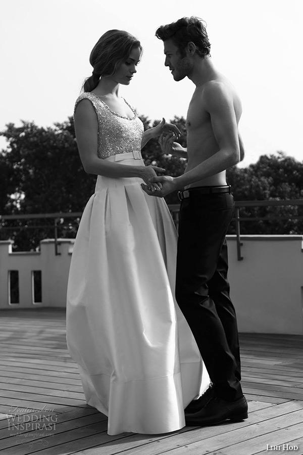 lihi hod wedding dresses 2015 bridal sleeveless scoop neckline embellished bodice yoke skirt with box pleat gown style almond 2