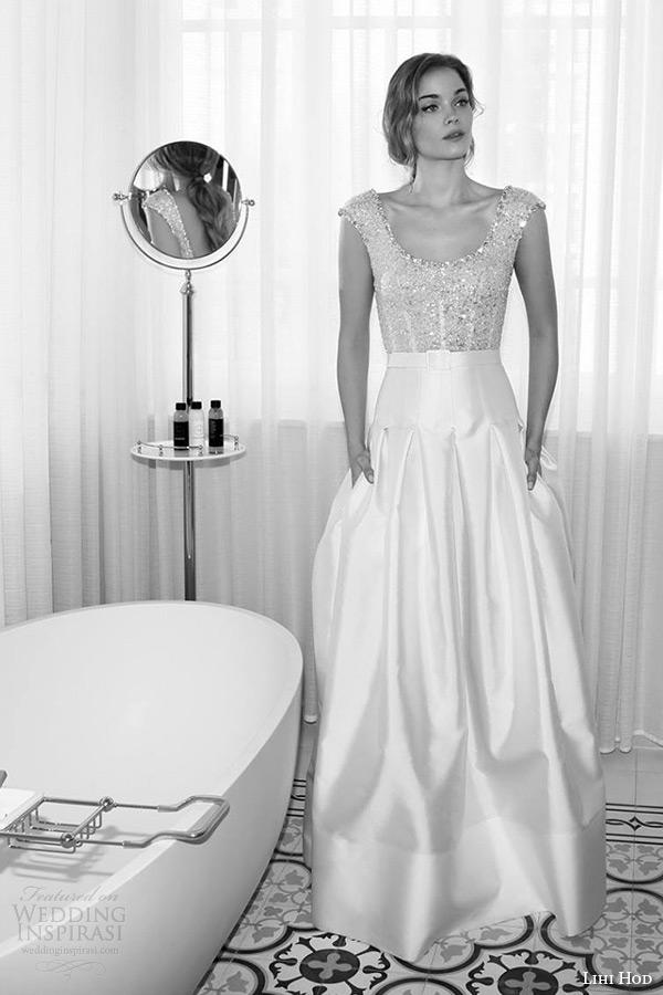 lihi hod wedding dresses 2015 bridal sleeveless scoop neckline embellished bodice yoke skirt with box pleat gown style almond 3