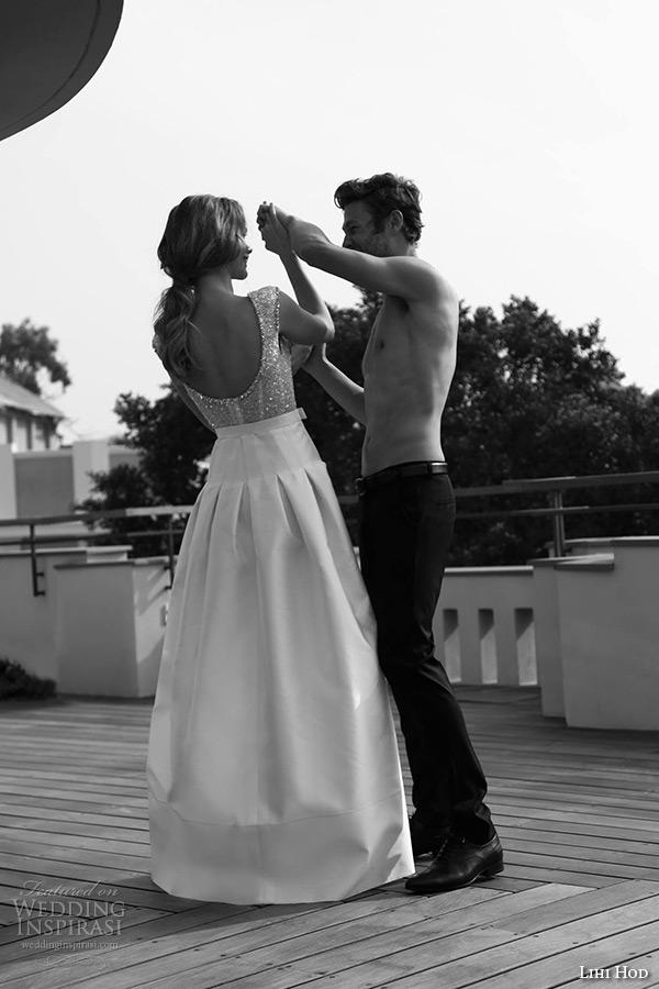 lihi hod wedding dresses 2015 bridal sleeveless scoop neckline embellished bodice yoke skirt with box pleat gown style almond