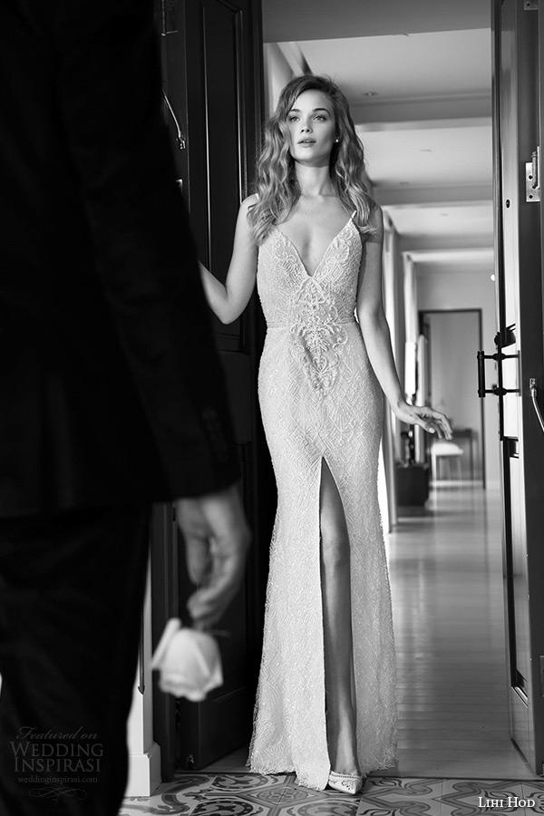 lihi hod wedding dresses 2015 bridal spagetti strap v plunging neckline lace high slit sheath gown style anastacia