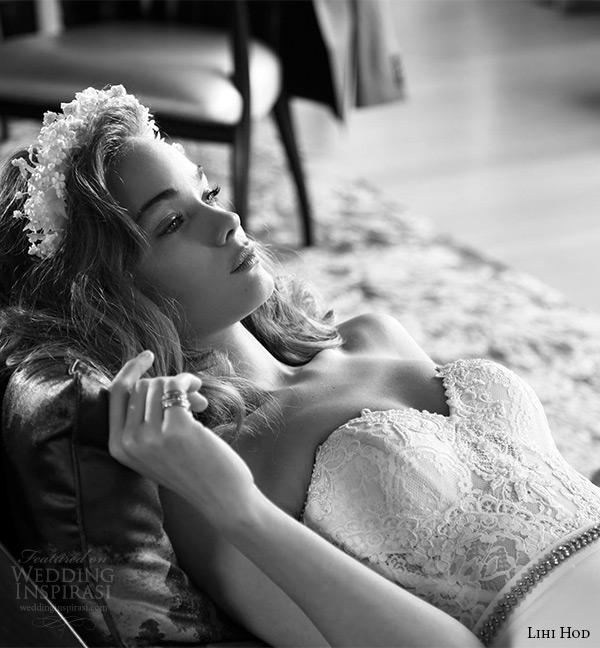 lihi hod wedding dresses 2015 bridal strapless sleeveless sweetheart neckline bustier corset lace bodice sheath gown style shelia