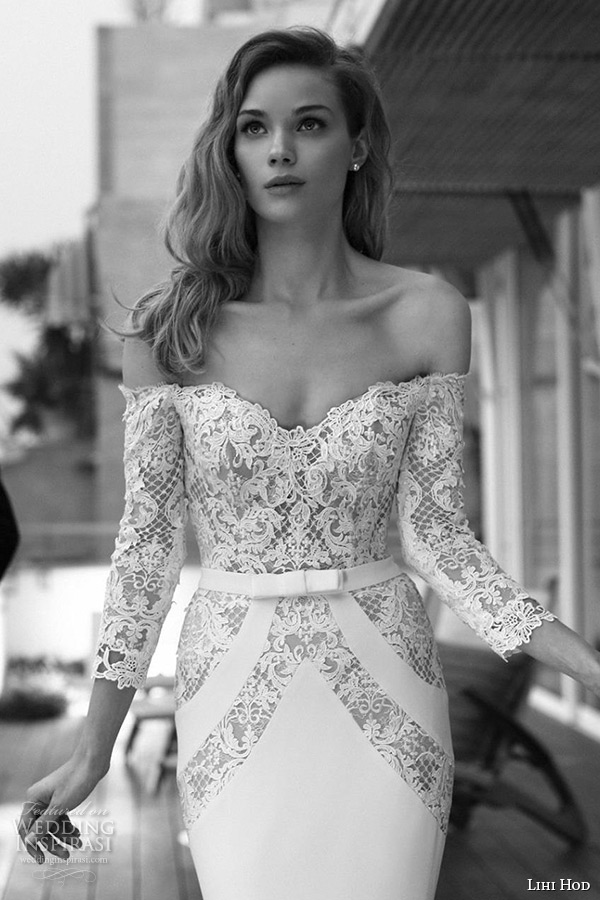 lihi hod wedding dresses 2015 bridal strapless  sweetheart neckline lace three quarter long sleeves sheath gown style alice zoom