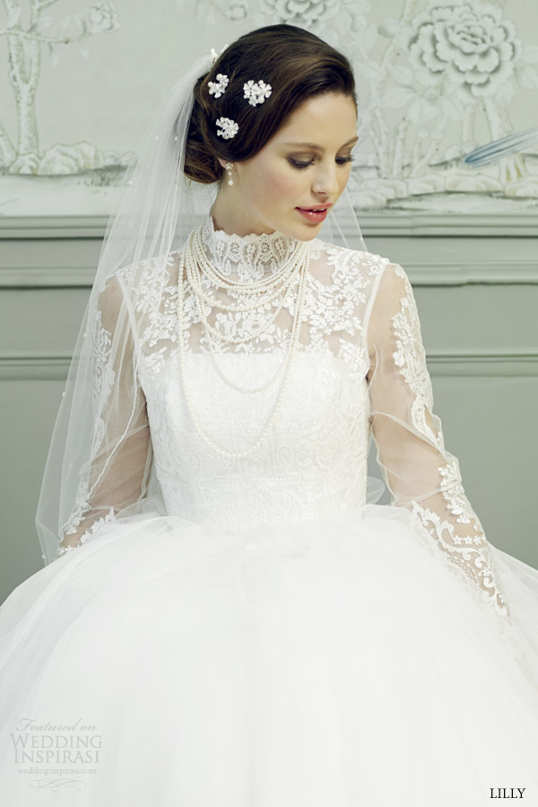 lilly bridal 2015 ball gown wedding dress illusion long sleeves high neck lace top 08 3546 cr close up lace top