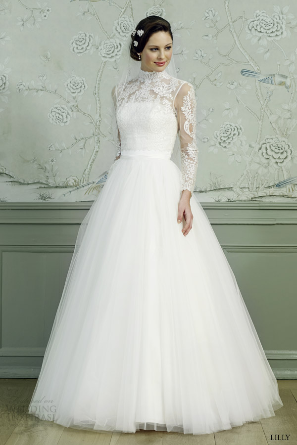 lilly bridal 2015 ball gown wedding dress illusion long sleeves high neck lace top 08 3546 cr