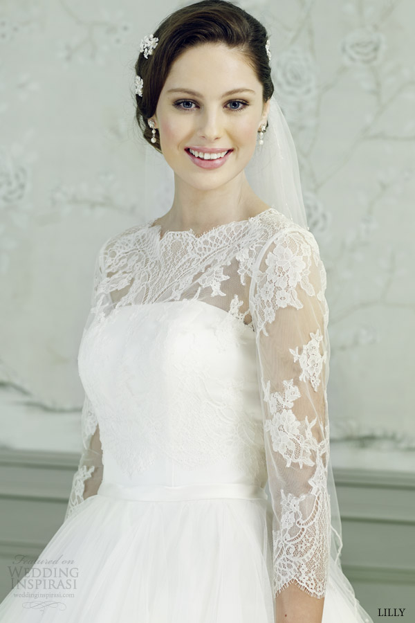 lilly bridal 2015 ball gown wedding dress illusion three quarter sleeves lace top 08 3546 cr close up lace bodice