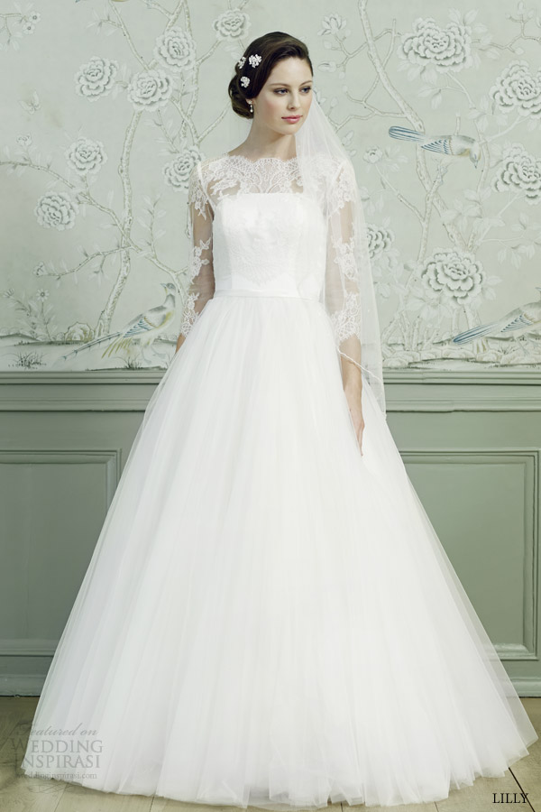 lilly bridal 2015 ball gown wedding dress illusion three quarter sleeves lace top 08 3546 cr