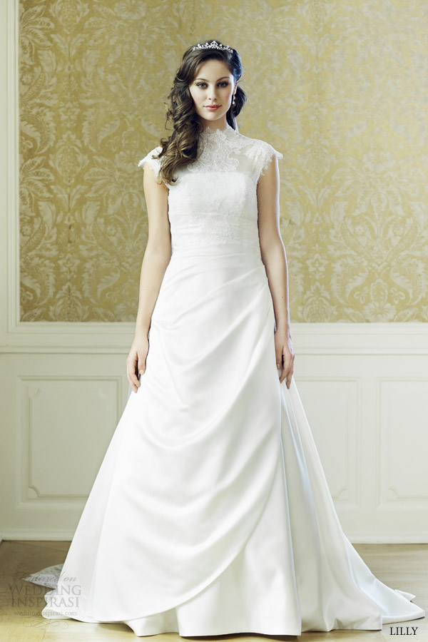 lilly bridal 2015 cap sleeve wedding dress 08 3520 cr