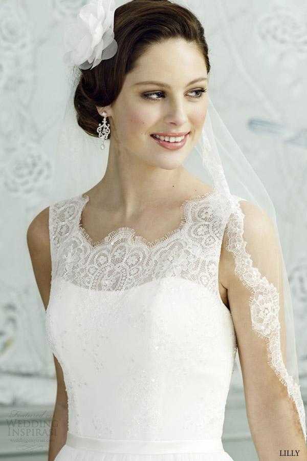 lilly bridal 2015 sleeveless full a line wedding dress scalloped lace neckline 08 3539 cr close up eyelash lace bodice